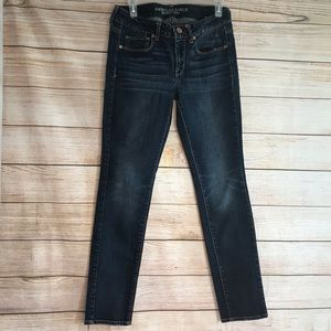 American Eagle dark wash skinny stretch jeans Sz 8